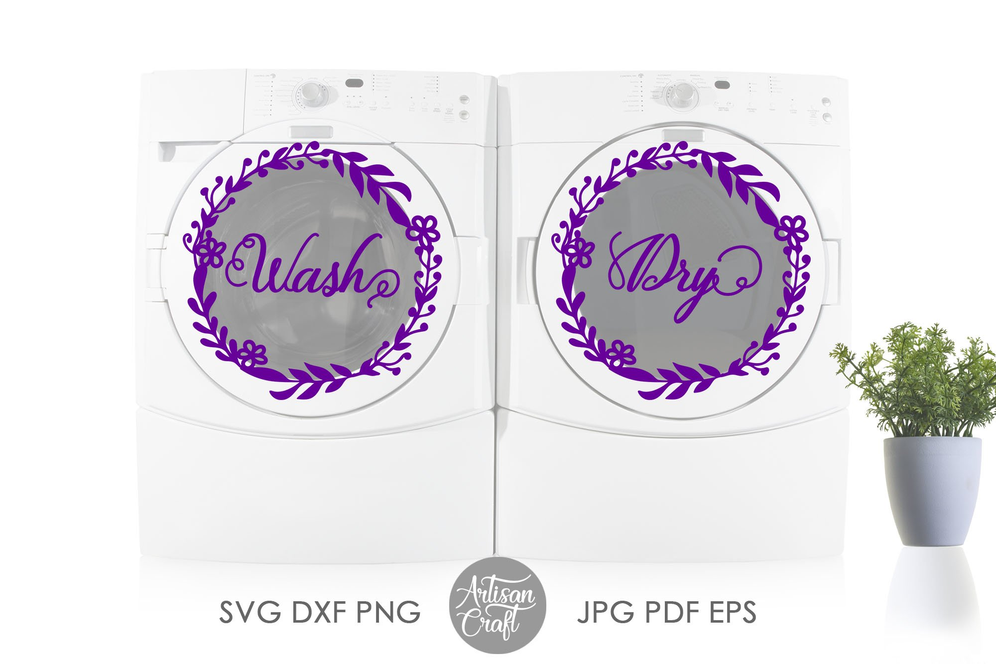 Wash dry svg, washer dryer decals, floral wreath png example image 6