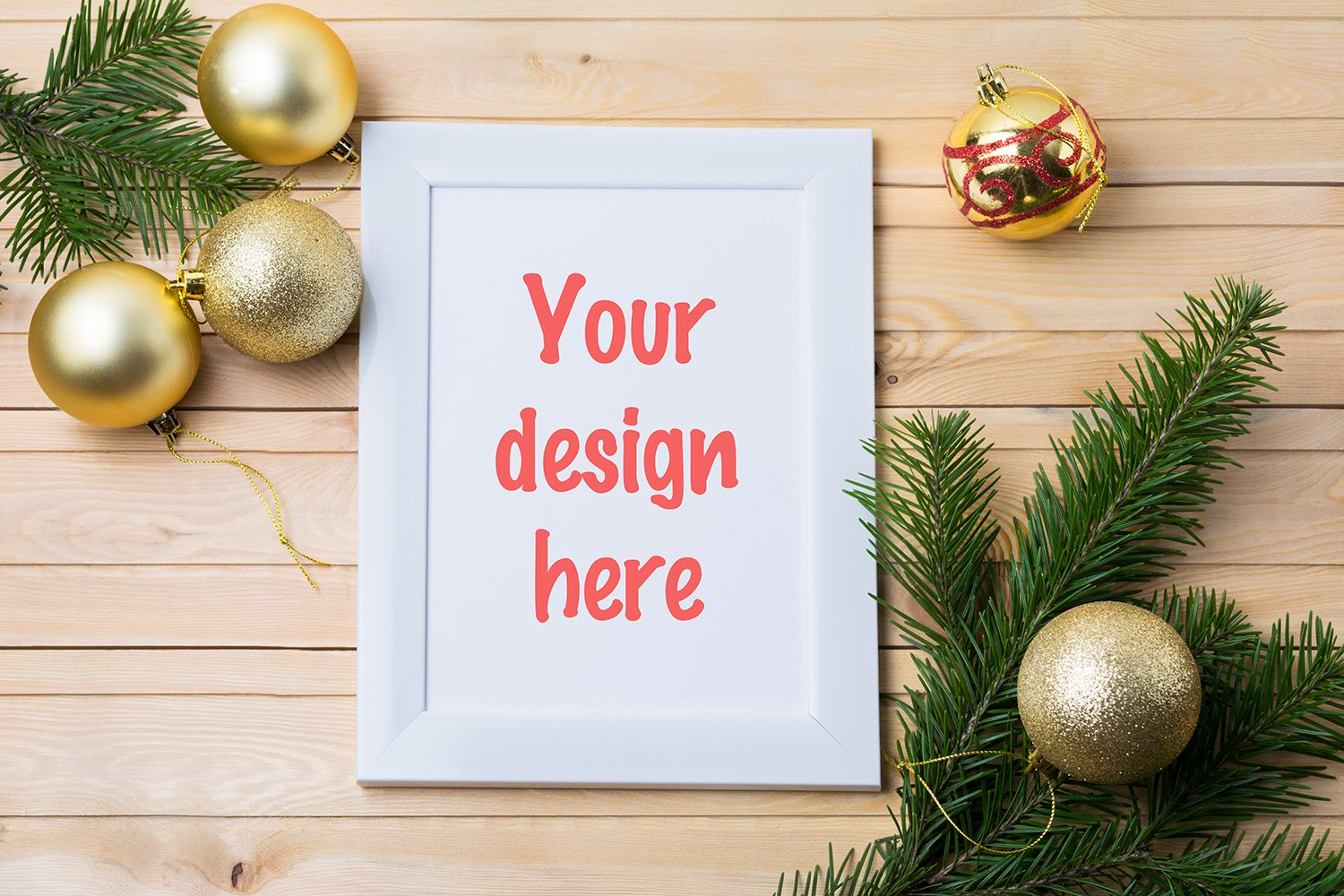 White rustic frame mockup with golden Christmas ornaments example image 1