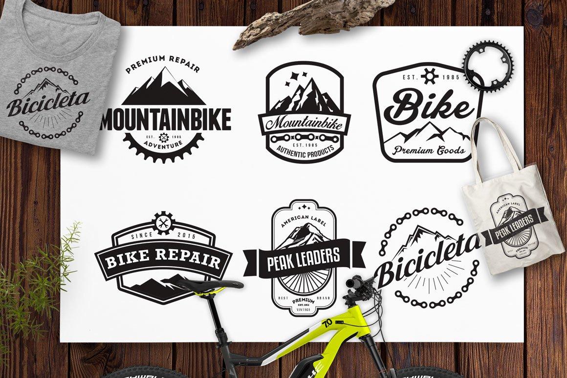 Mountain Bike Retro Logo Badges Mountain Logo Bike Logo 56234 Logos Design Bundles