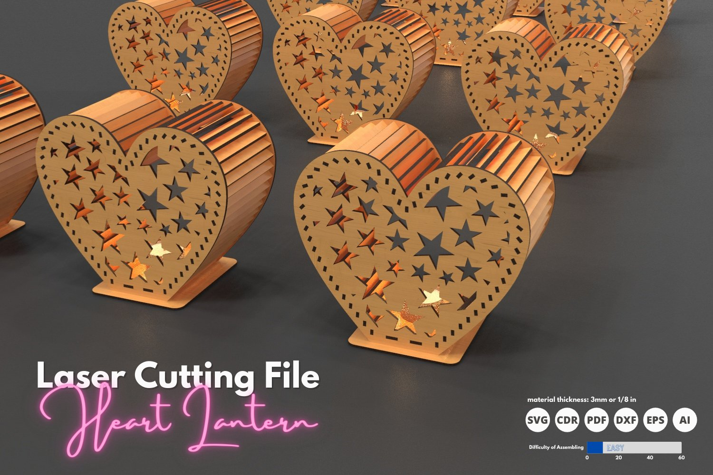 Heart Lantern - laser cutting file example image 1