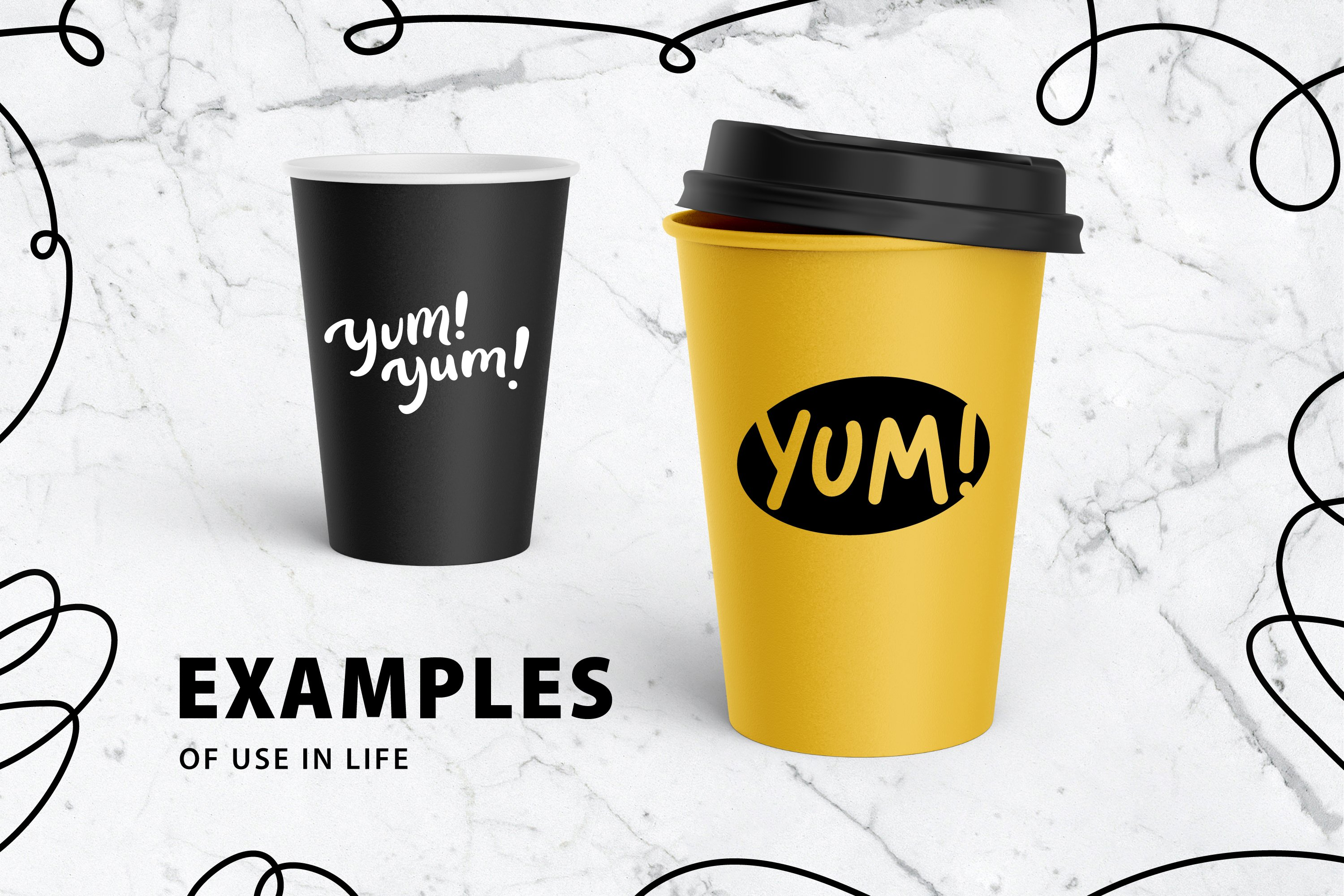 YUM SVG. YUM cute doodle speech bubble. Yummy graphic print example image 4