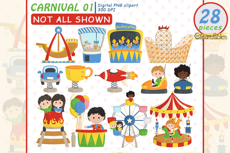 Cute CARNIVAL clipart, Amusement park - Roller-coaster example image 3