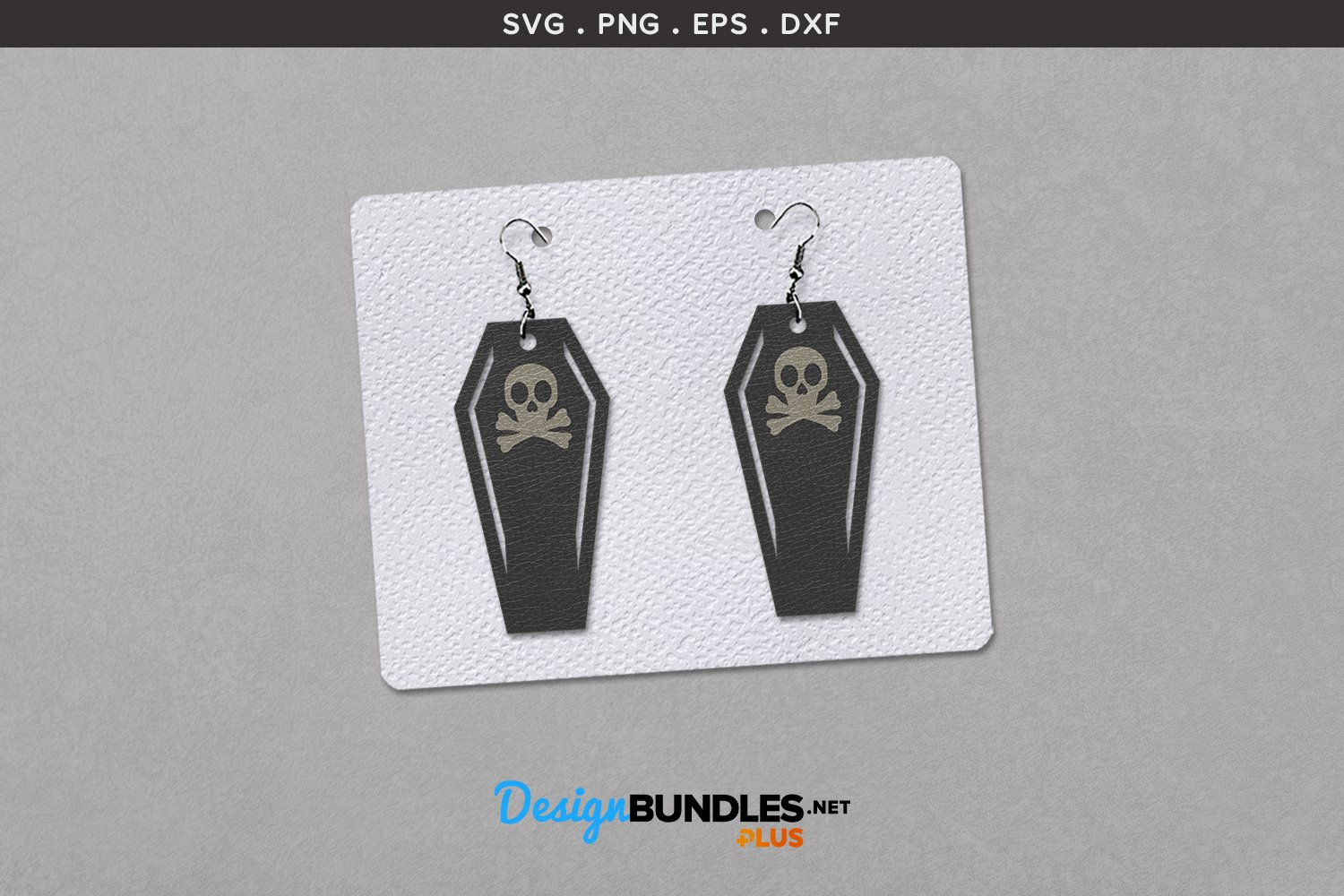 Halloween Earrings Template   Coffin with skull example image 1