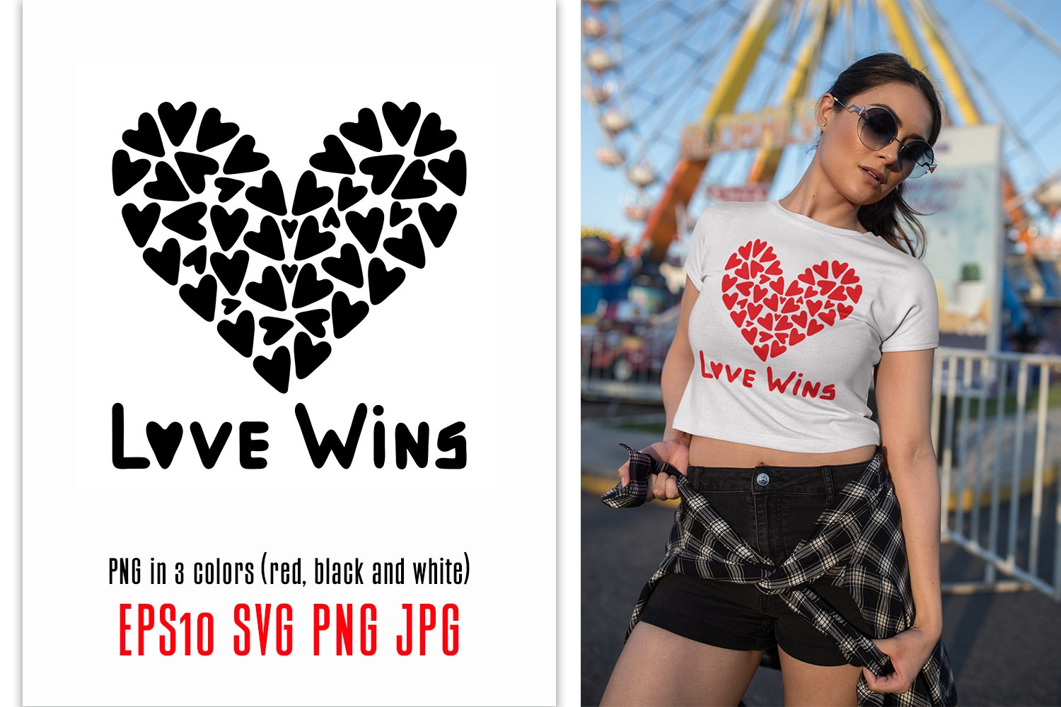 Love Wins SVG quote with hearts example image 1
