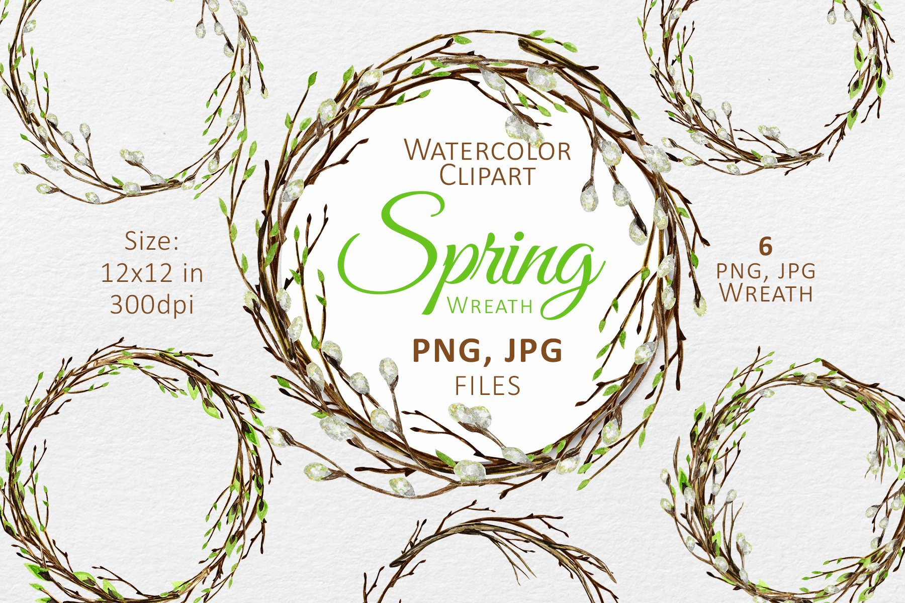 Spring Easter Wreath Png Clipart Watercolor Holiday Frame 1164028 Illustrations Design Bundles