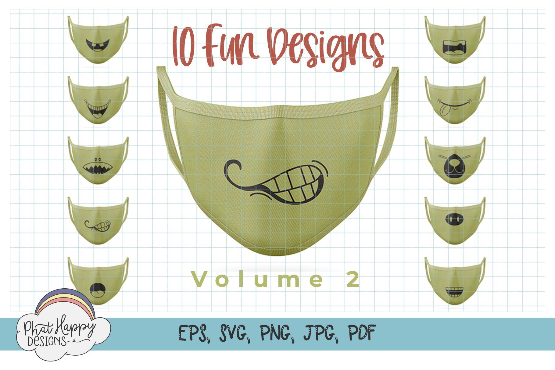 Funny Faces for Masks 40 Design Bundle - SVG Cut Files example image 5