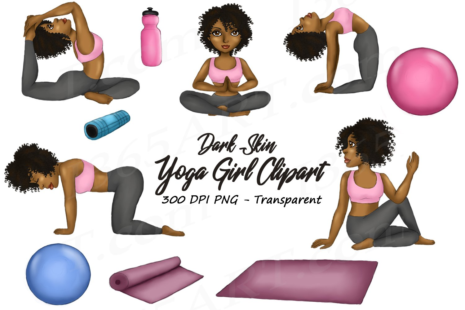 Yoga Girl Clipart Dark Skin African American Fashion Png 204374 Illustrations Design Bundles