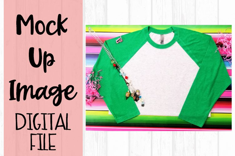 Green Raglan on Serape Mock Up example image 1