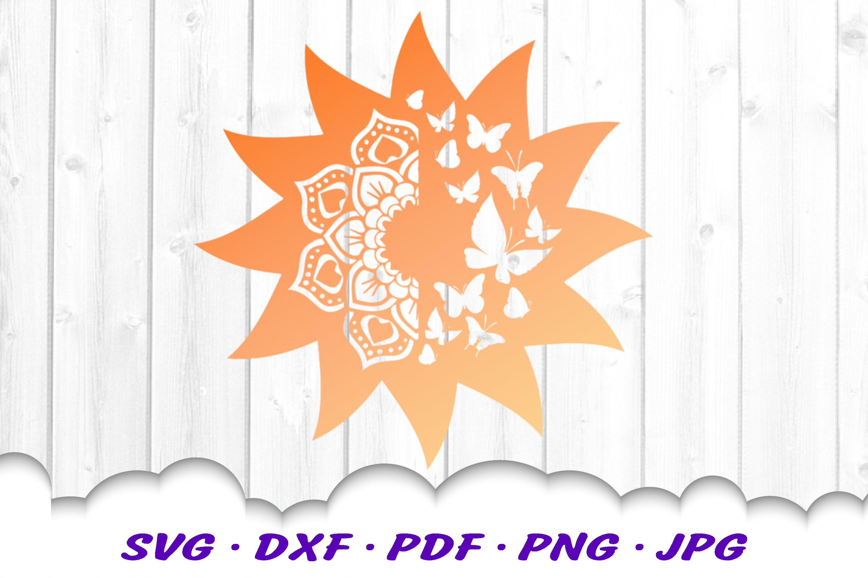 Mandala Butterfly Sun Celestial SVG DXF Cut Files example image 3