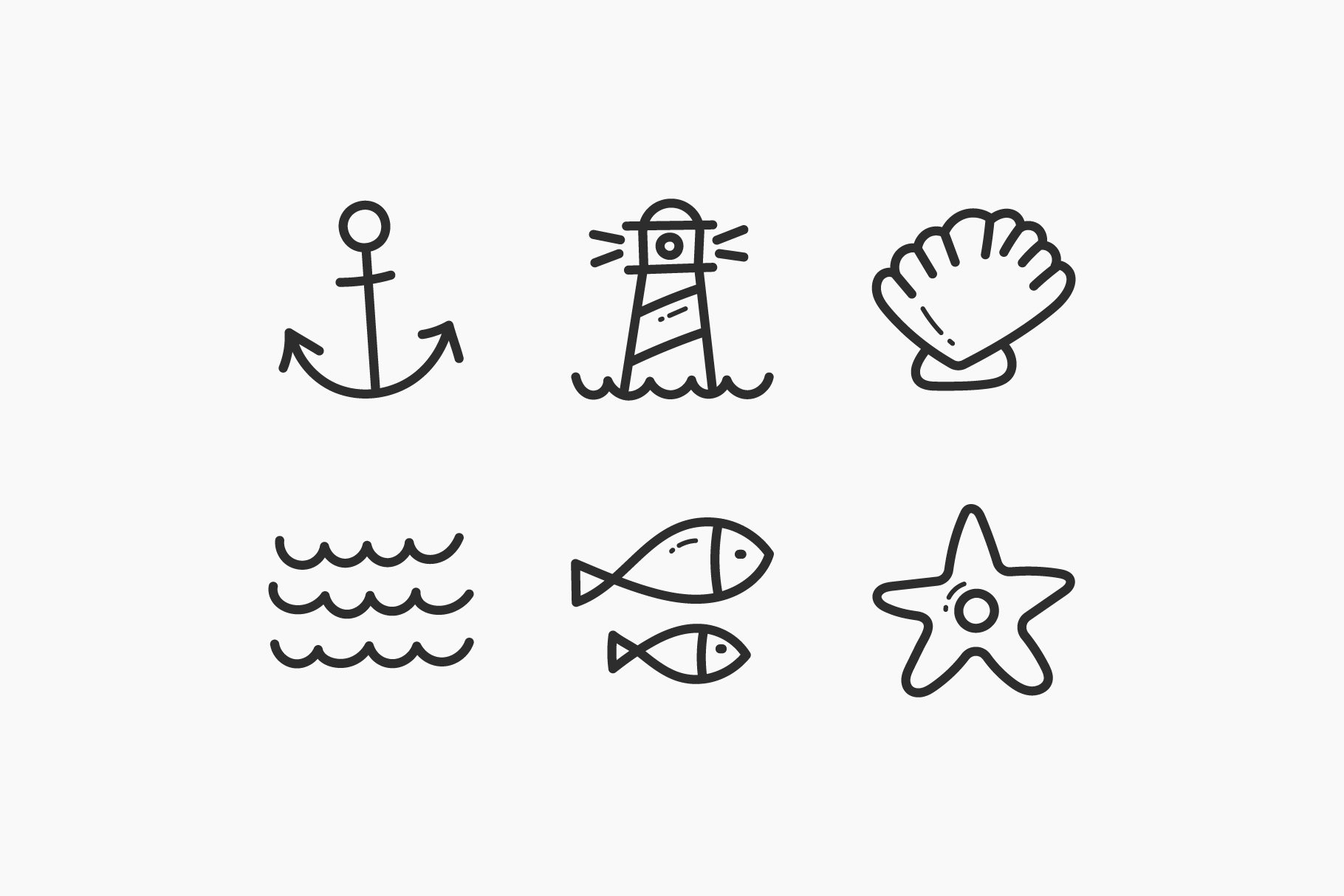 Sea Hand-Drawn Doodle Icons example image 3