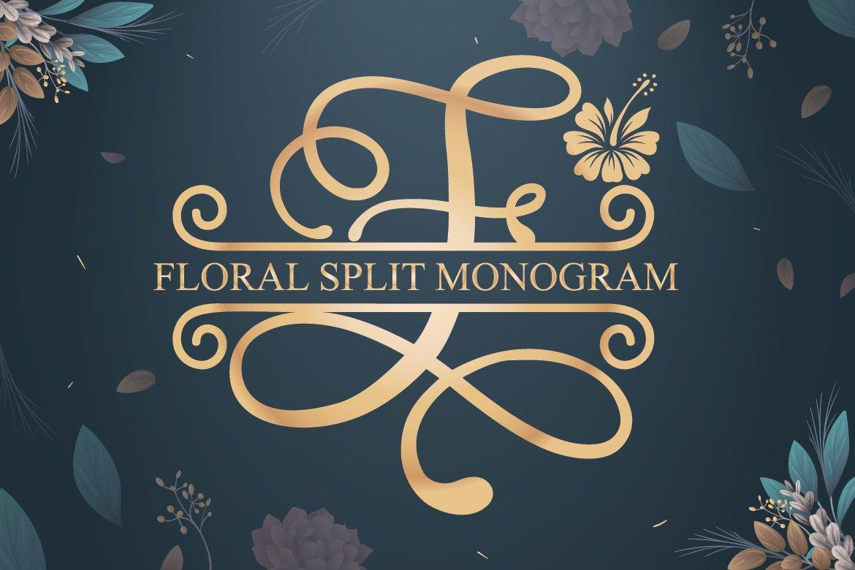 Floral Split Monogram example image 1