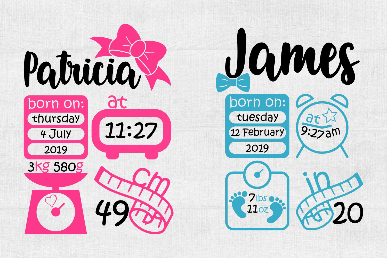 Laurel Wreath Birth Announcement svg svg, eps, png, pdf Baby svg Baby Birth Announcement SVG Birth Stats svg Digital Download