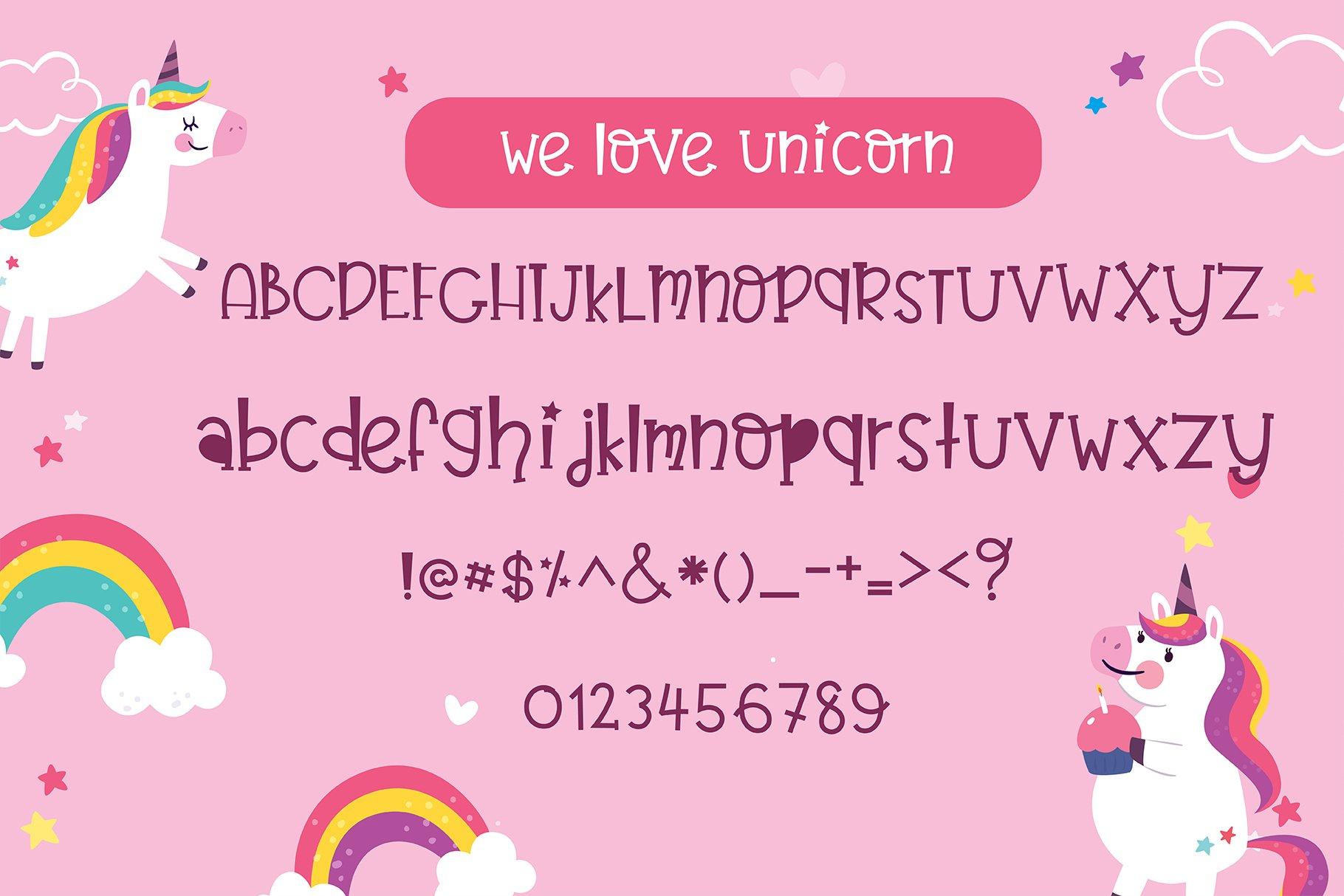 Believe in unicorn Handwriting- cute kid font Kawaii style! example image 7