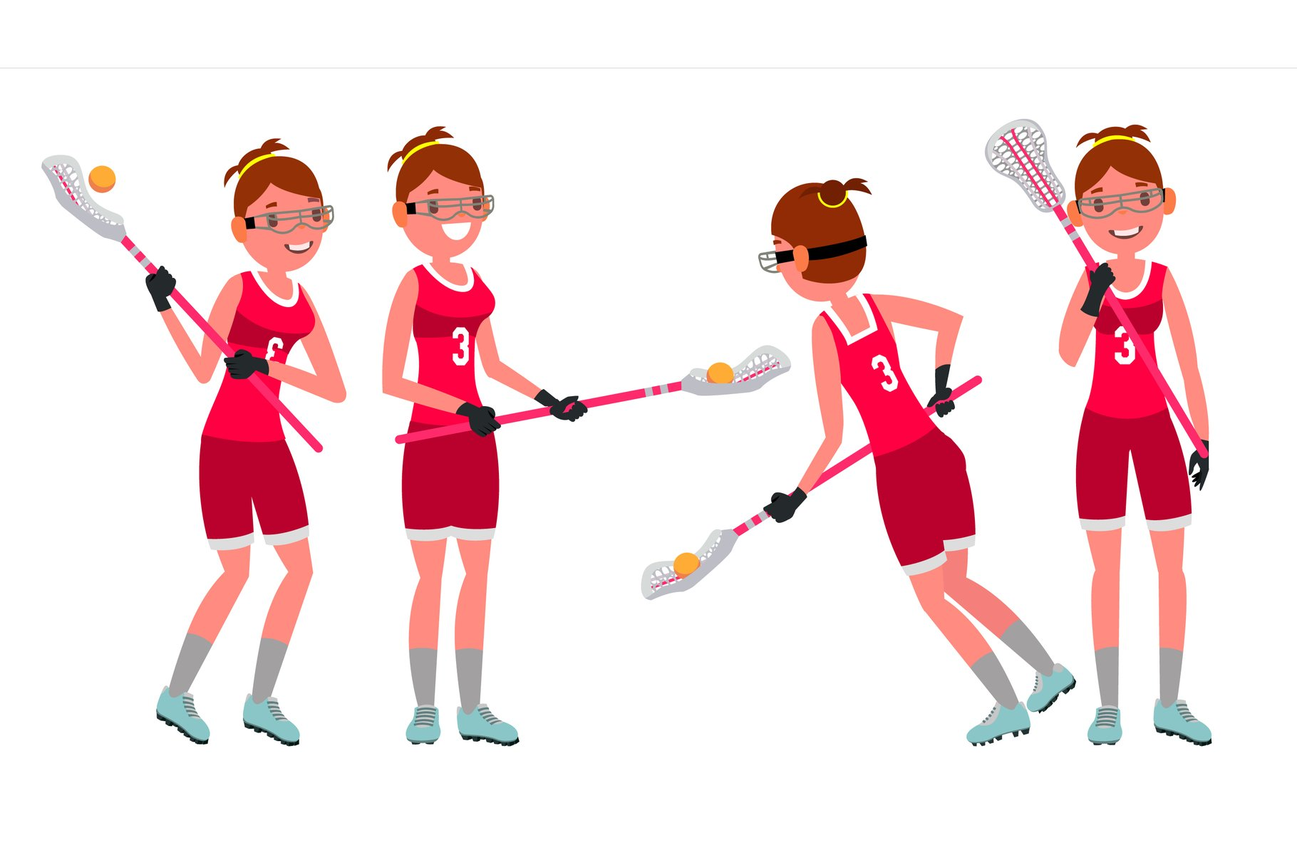 Lacrosse Female Player Vector. High School Or Colleges Girl. example image 1