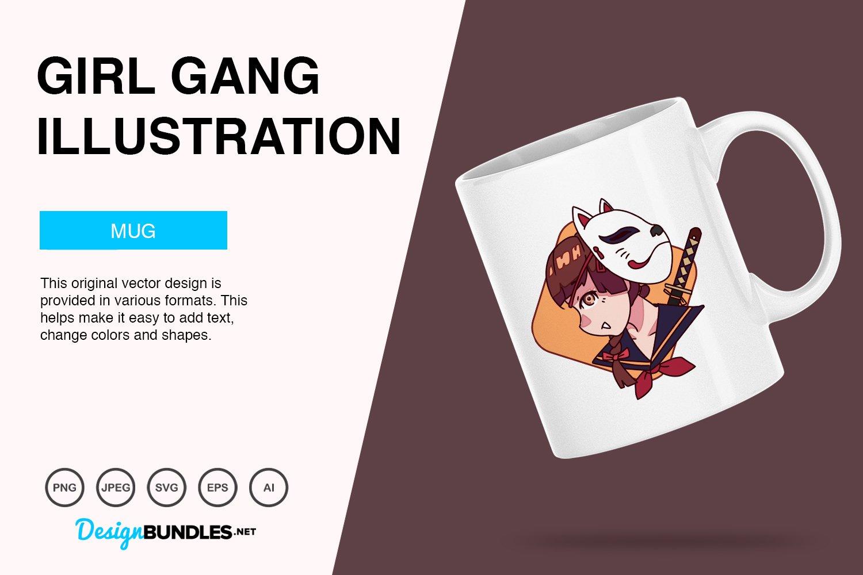 Cute Girl Gang Vector Illustration example image 5