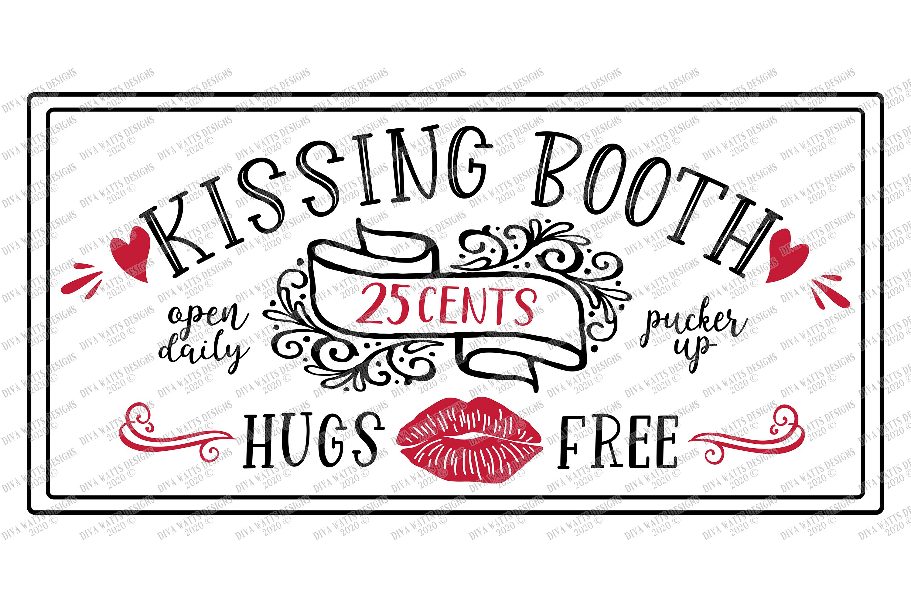 kissing booth  valentine's day  lips  hearts  sign svg