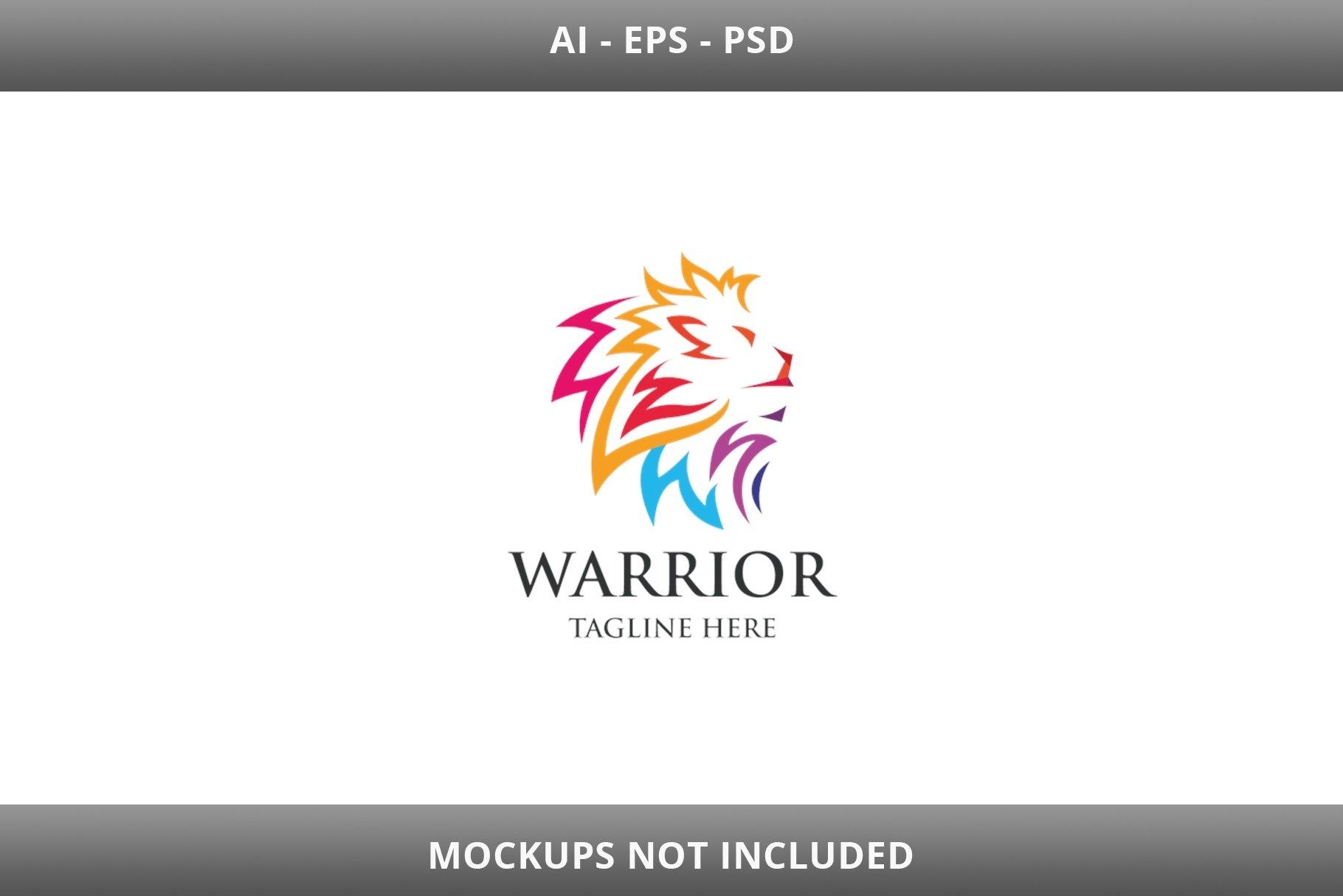 Warrior Lion Letter W Logo example image 2