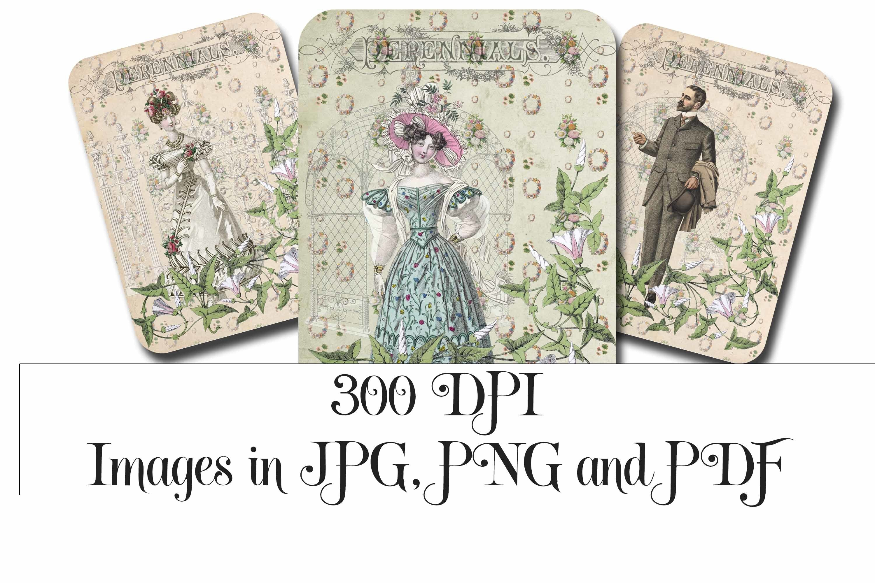 Vintage Garden Party Printable Tags - ATC cards example image 3