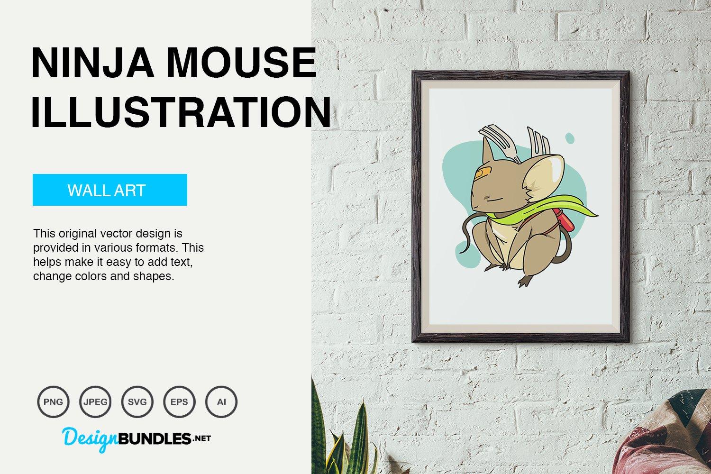 Ninja Mouse Vector Illustration example image 2