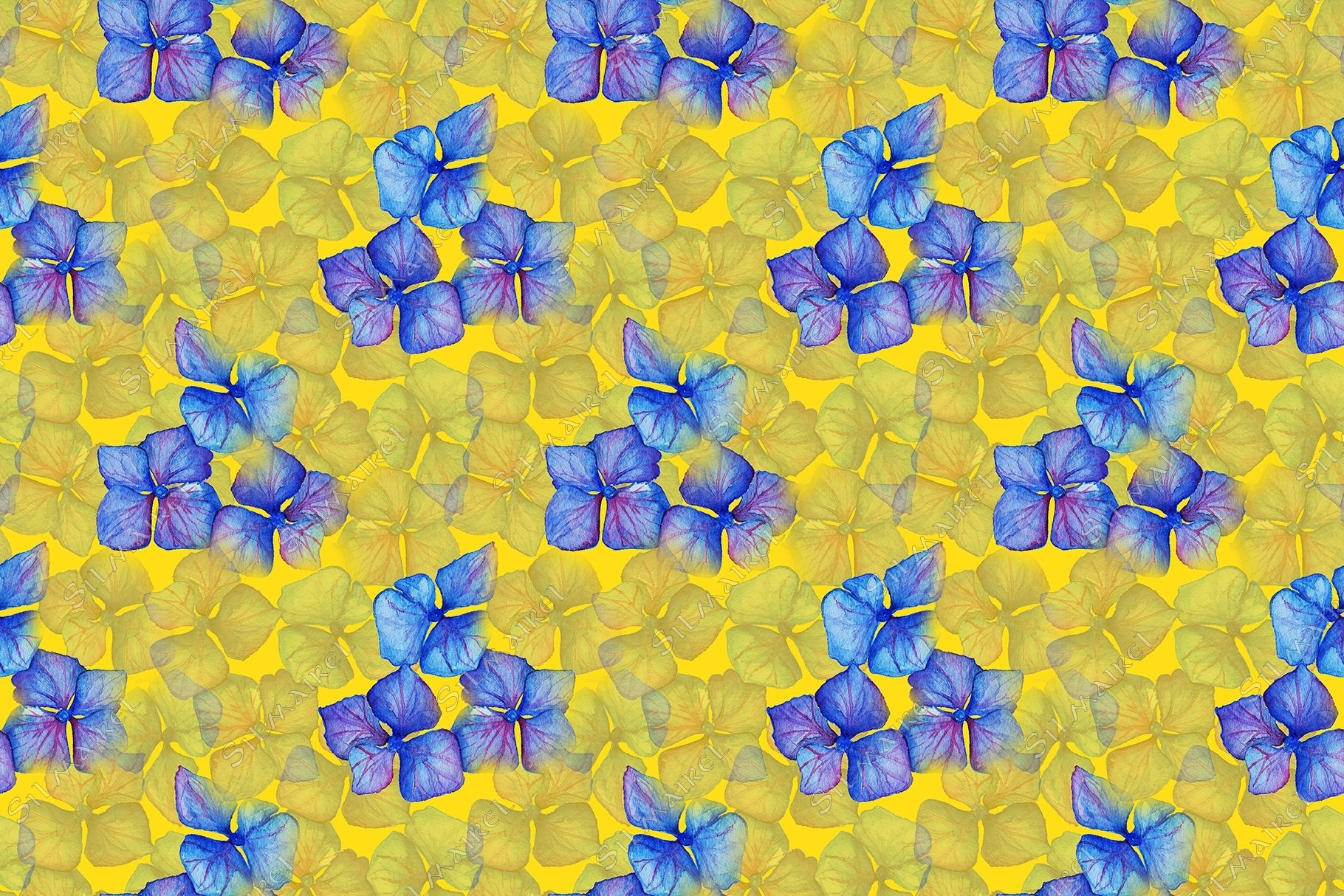 Blue violet hydrangea flowers composition seamless pattern example image 2