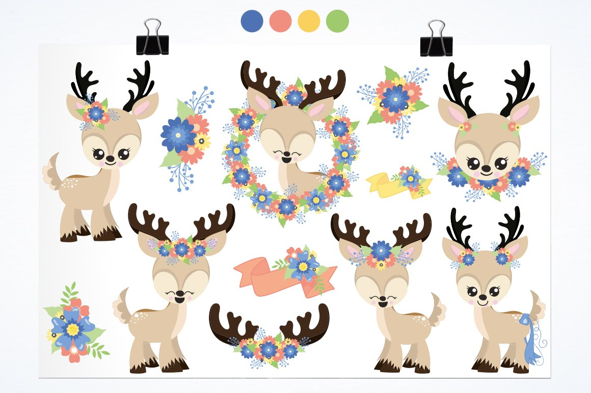 deer flowers antlers Graphics and illustrations, vector example image 2