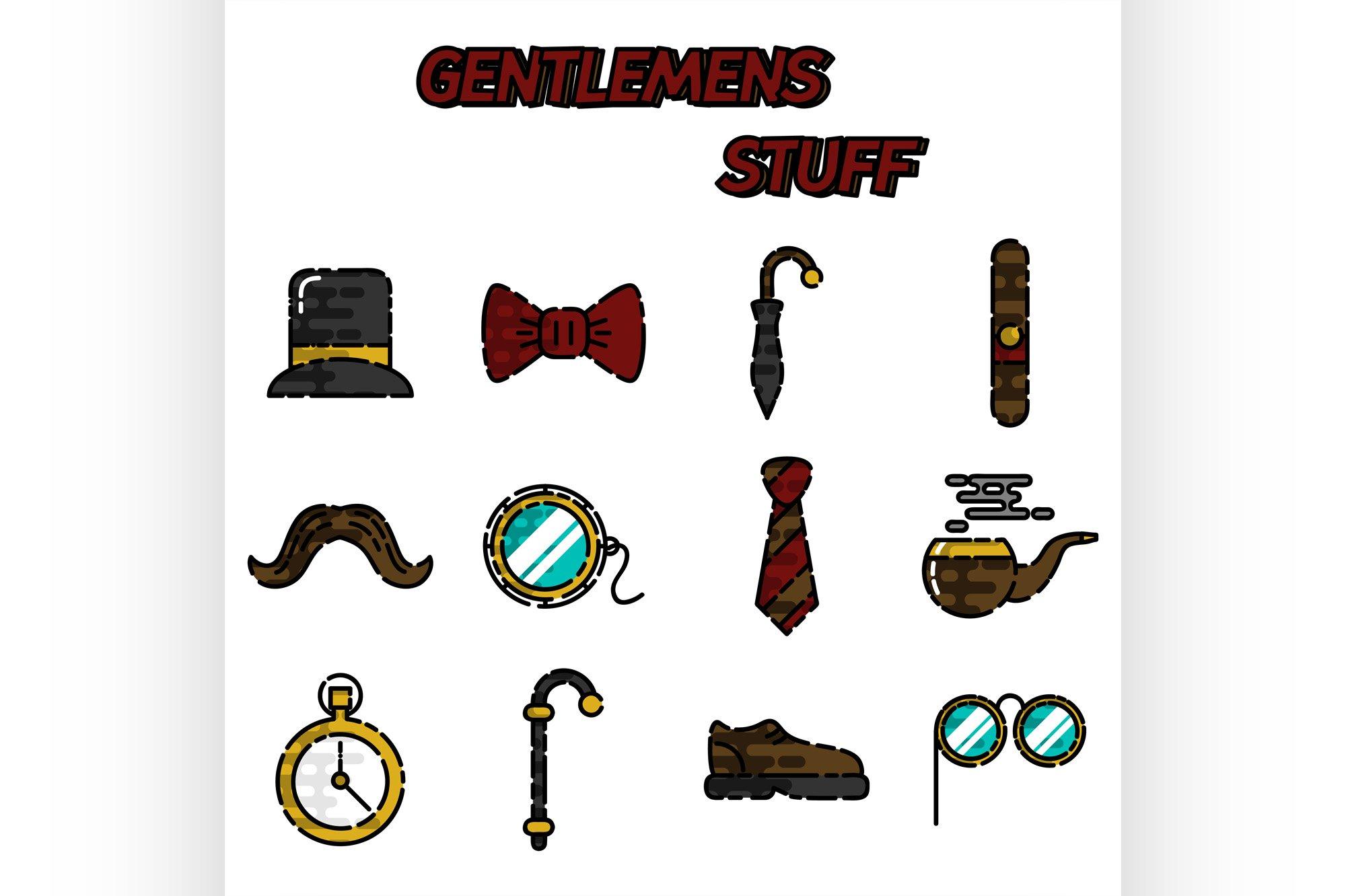 Gentlemens vintage stuff flat icon set example image 1