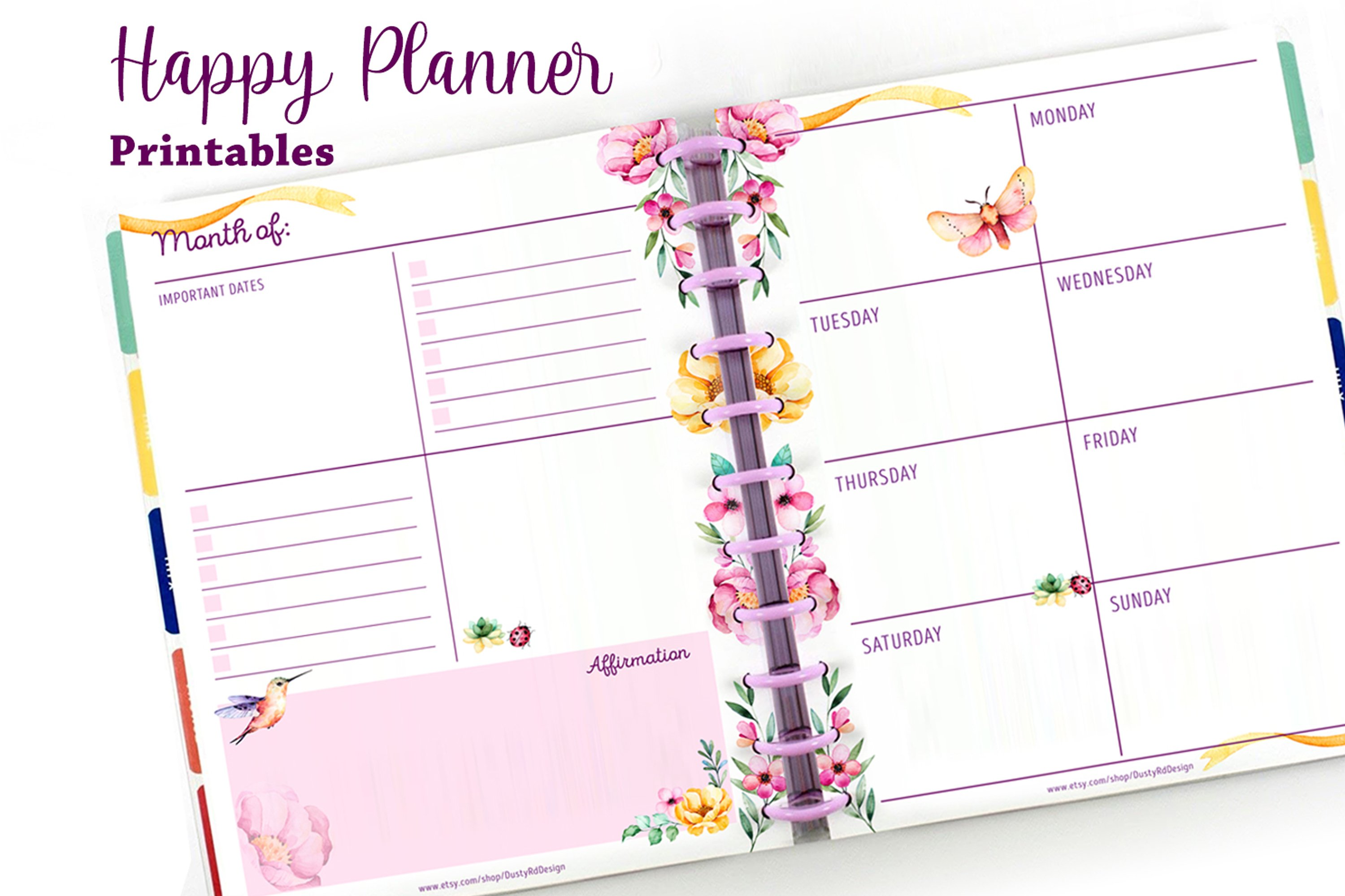PLANNER printables- hummingbird collection - 17 pdf example image 3