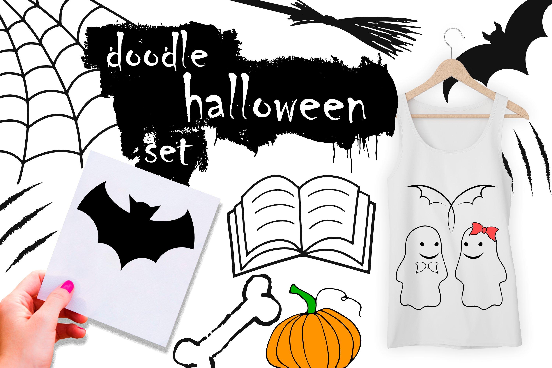 Doodle Halloween set. Digital elements example image 6