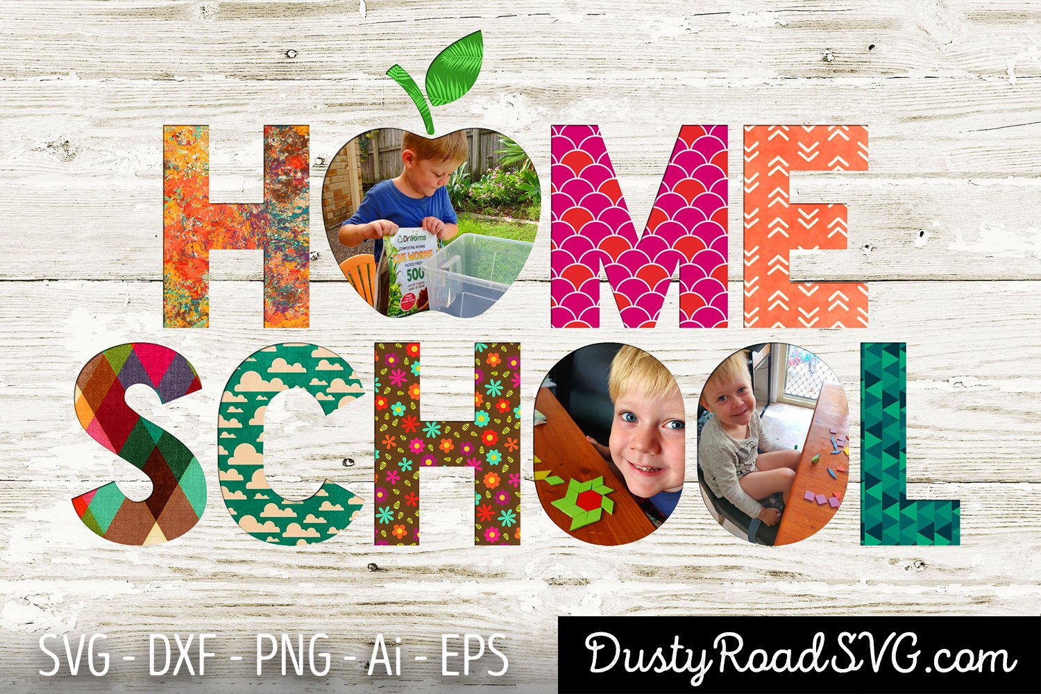 HOME SCHOOL - Scrapbook - cut file - svg png eps dxf example image 3