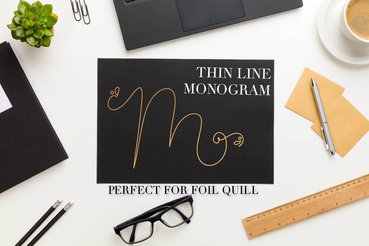 Thin Line Monogram - A Monogram Font Created For Foil Quill example image 2