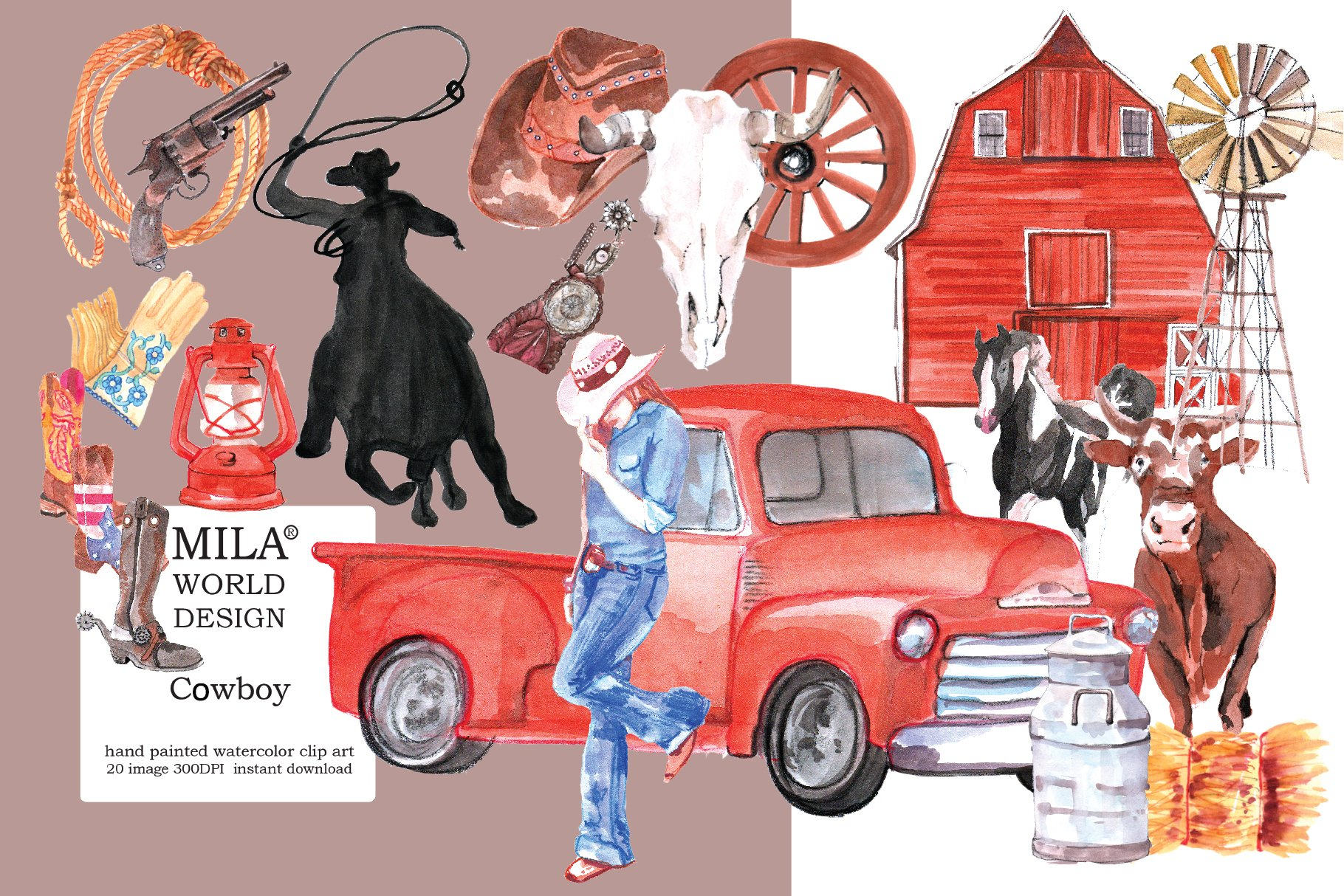 Download Watercolor Cowboy Clipart 67900 Illustrations Design Bundles