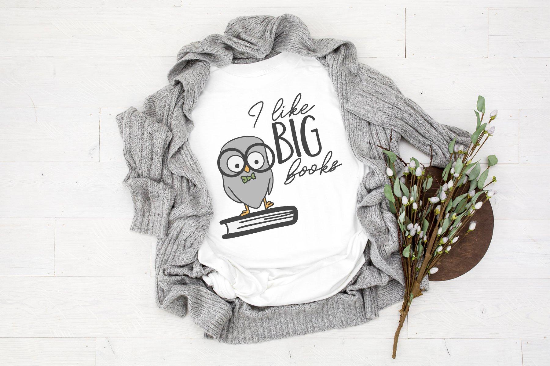 I Like Big Books SVG | Owl SVG | Back to School SVG Cut Fil example image 2