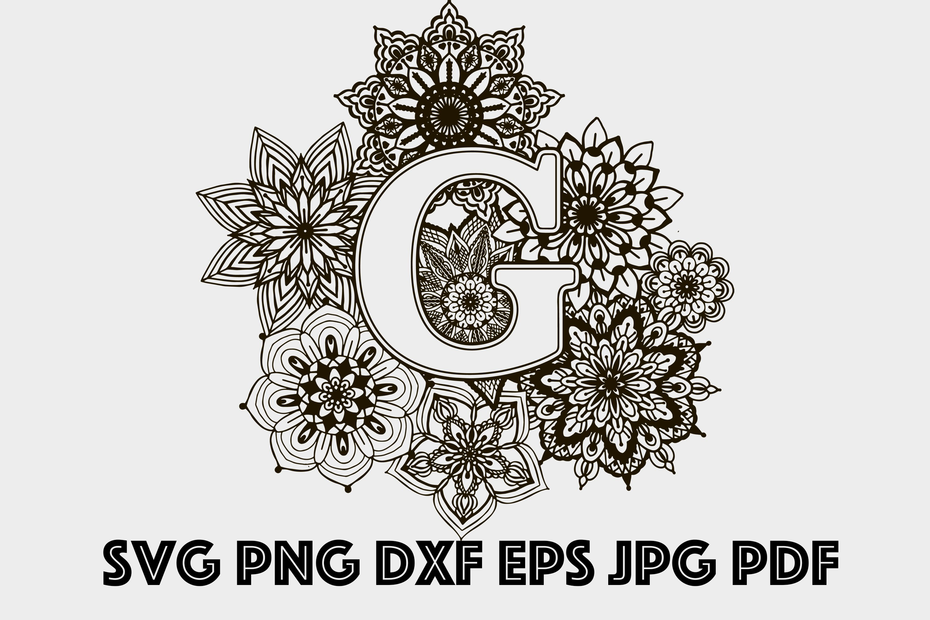 Personal and Commercial Use. Floral Mandala Alphabet svg Alphabet Initials Flower Letters svg