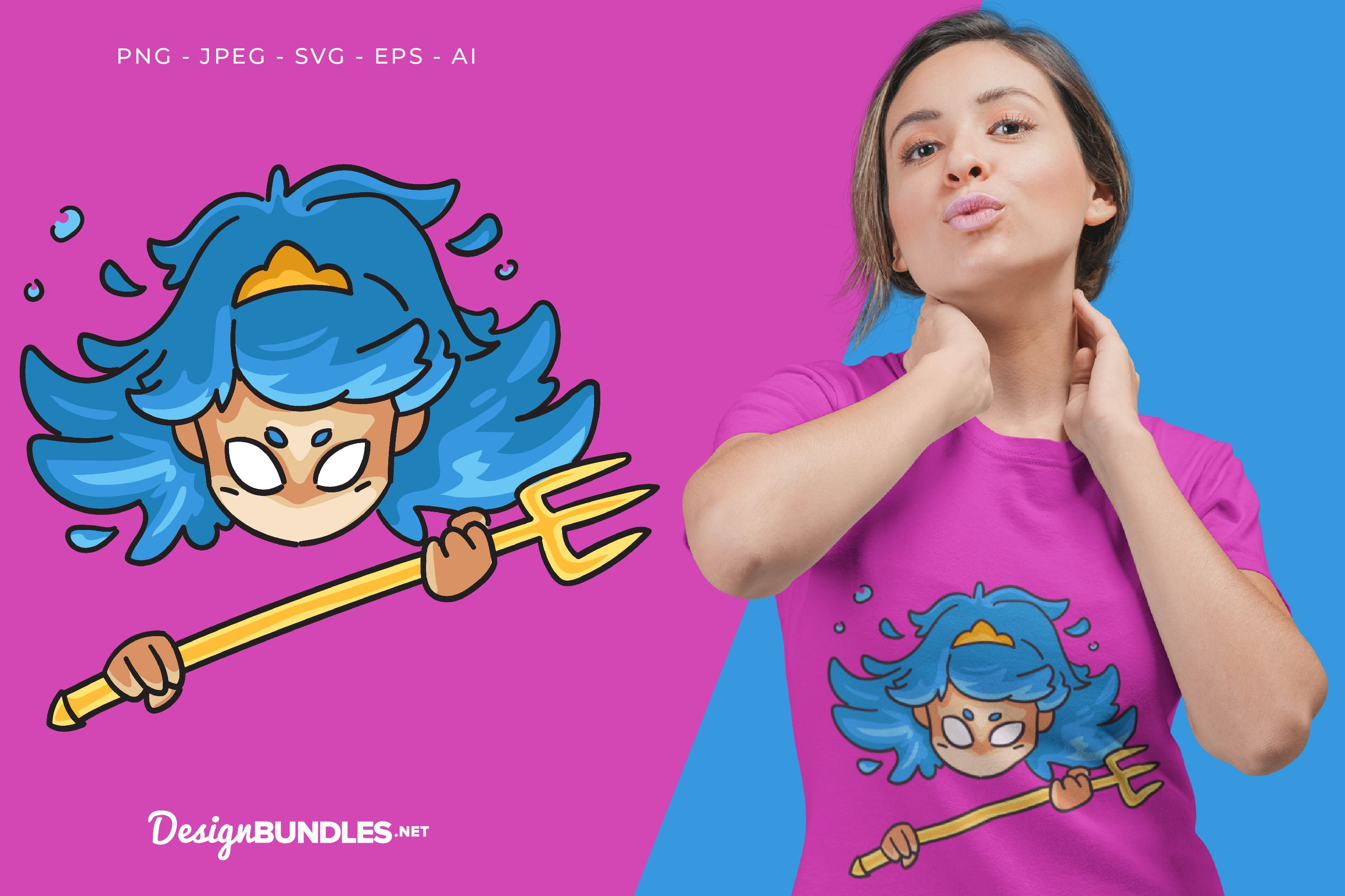 Mad Blue Princess Vector Illustration For T-Shirt Design example image 1