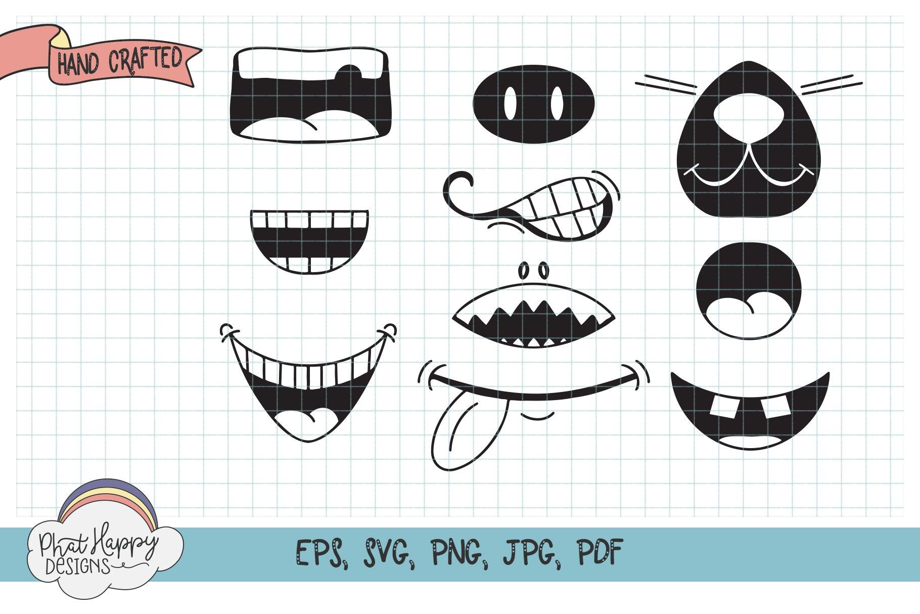 Funny Faces for Masks 40 Design Bundle - SVG Cut Files example image 4