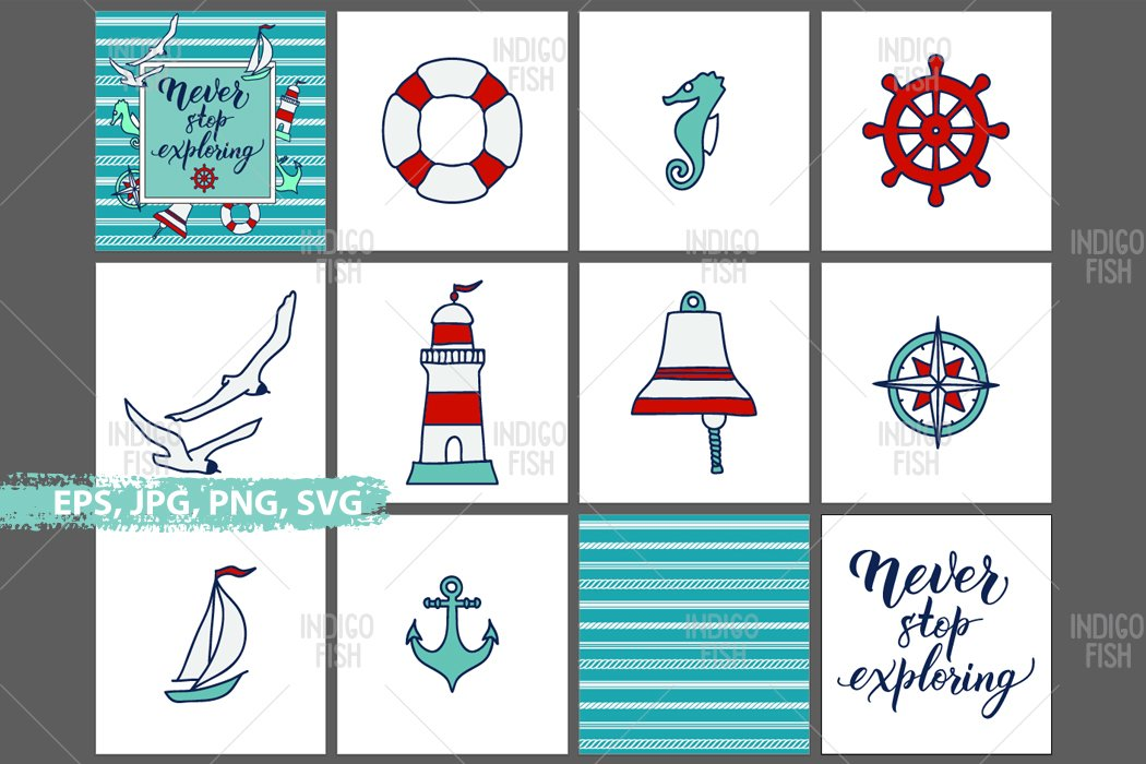 Icons, Quote and Pattern Expoloring & Sea Bundle example image 2