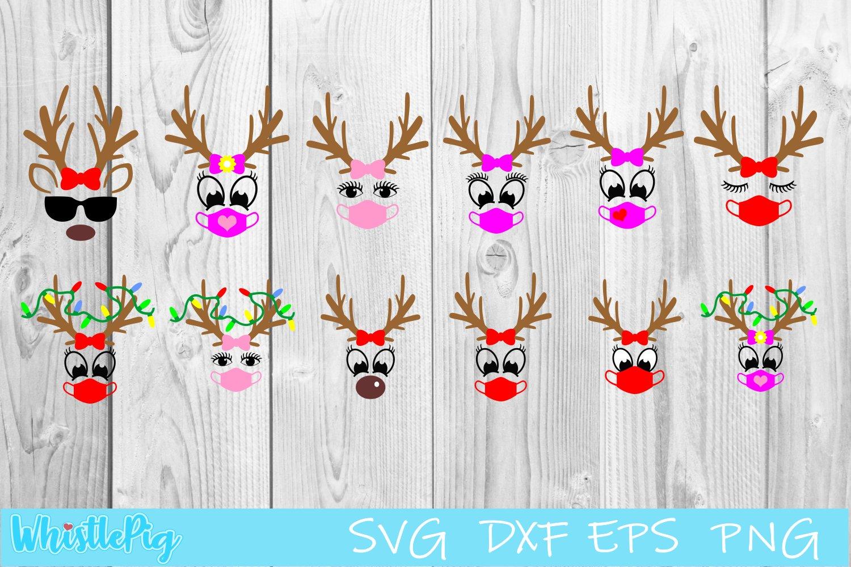 Download Reindeer Face Svg Bundle With Face Mask Social Distancing 1050178 Cut Files Design Bundles