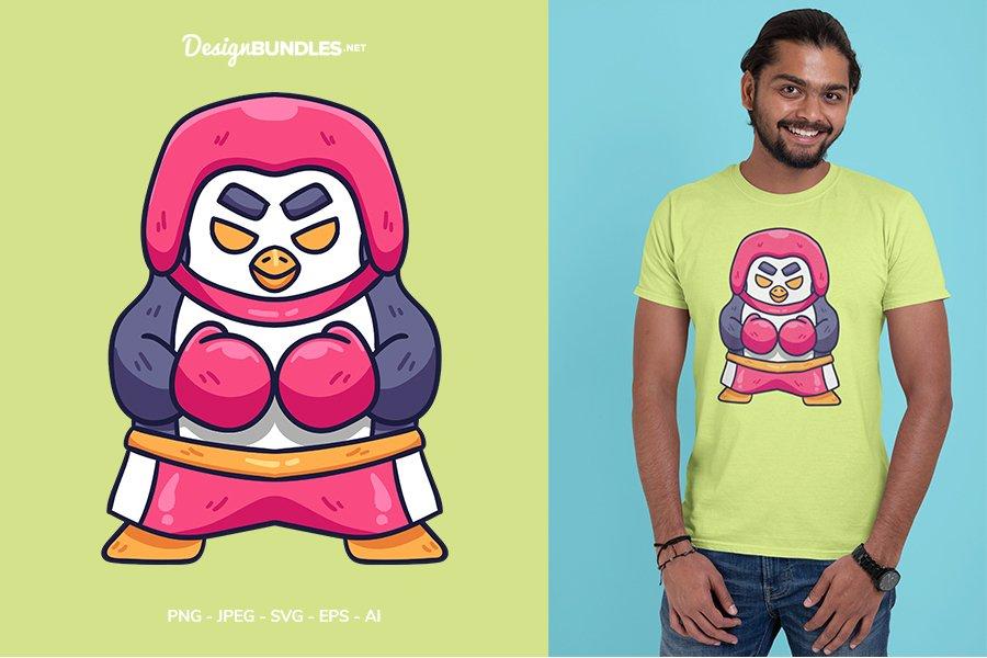 Boxing Penguin Vector Illustration For T-Shirt Design example image 1