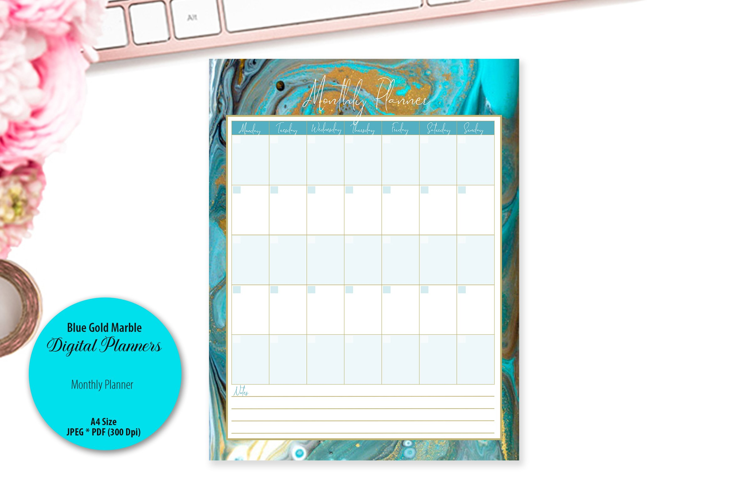 Blue Gold Marble Digital Planner example image 4