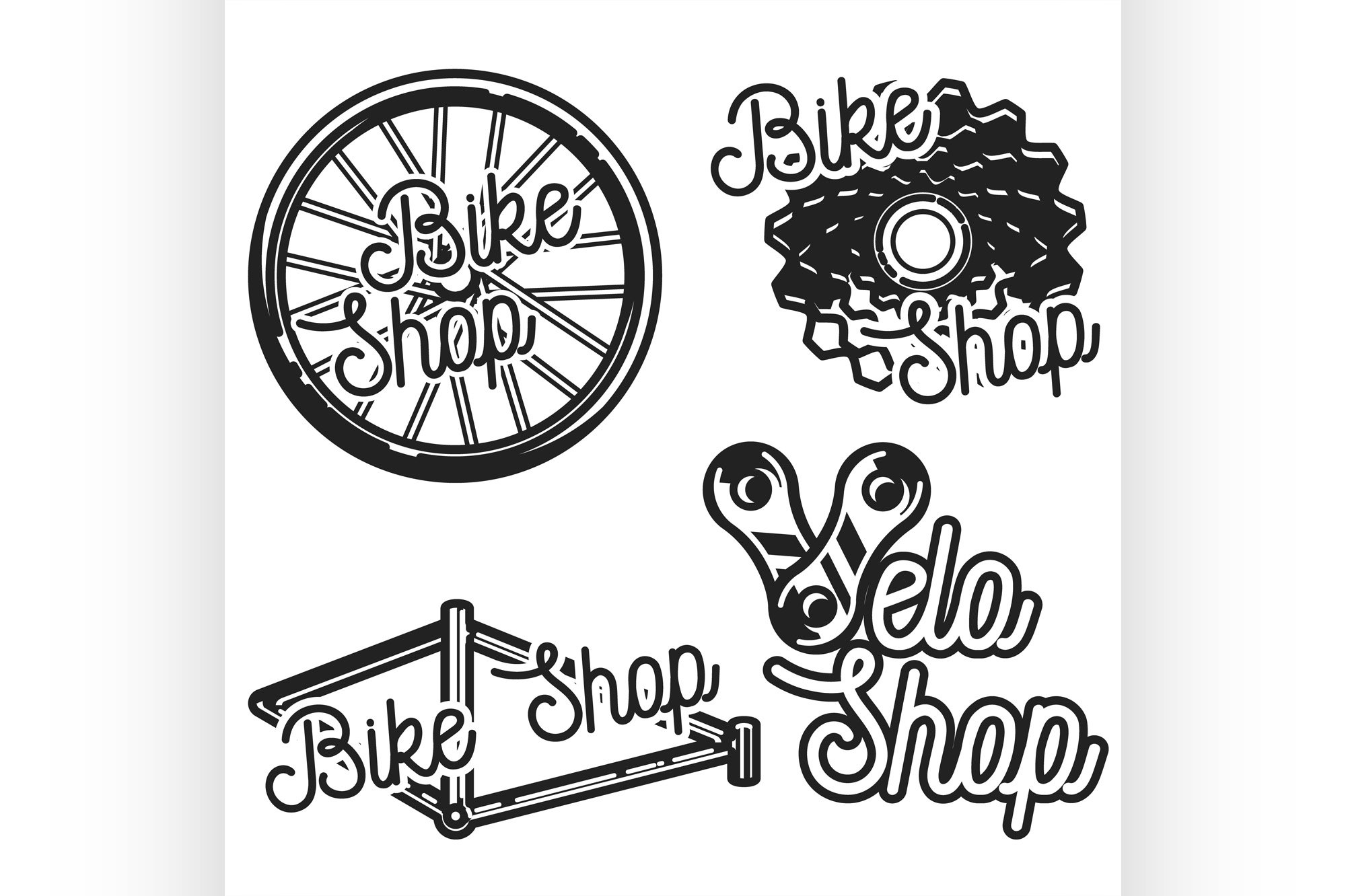 Vintage bike shop emblems example image 1