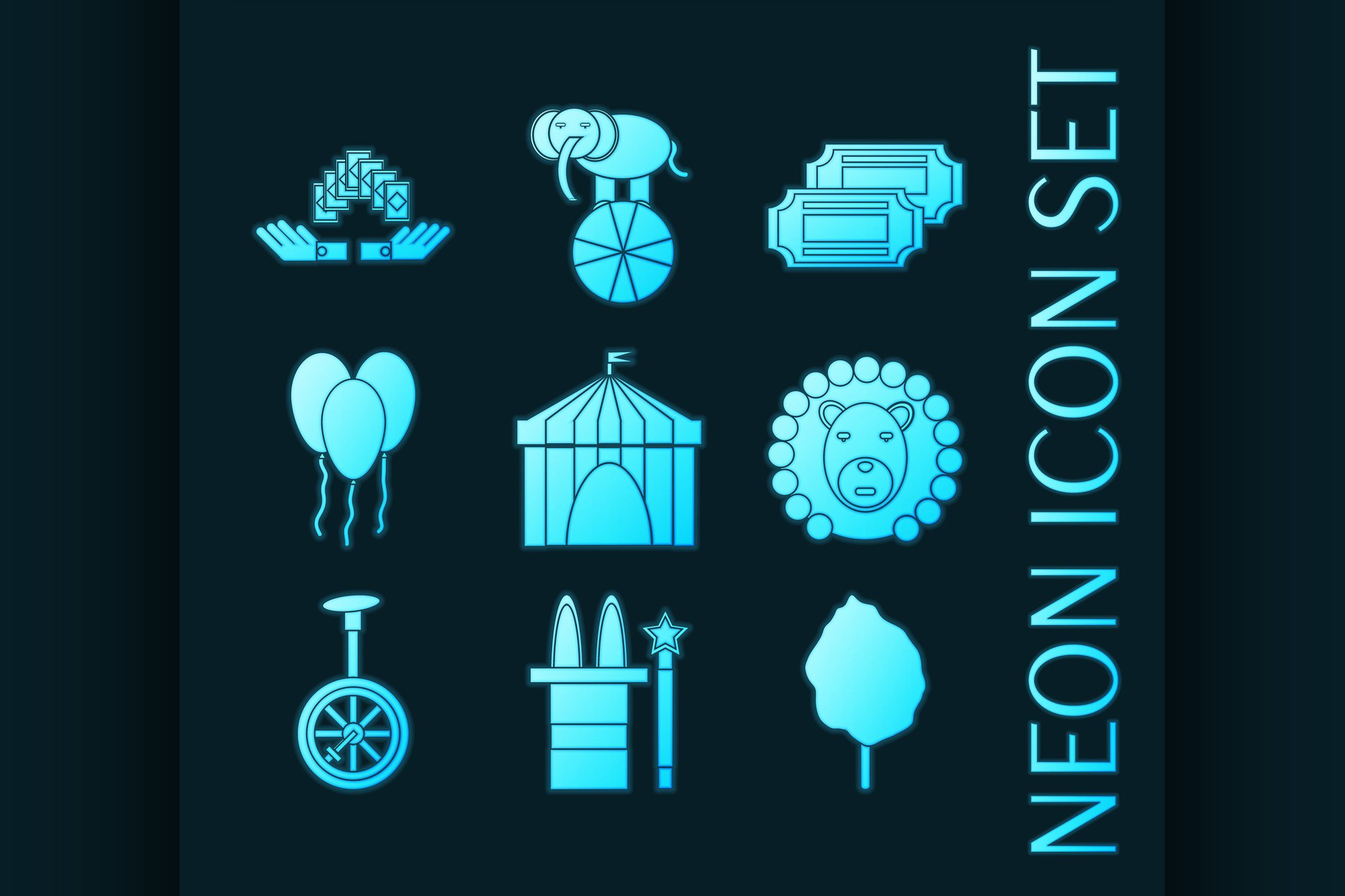 Set of Circus blue glowing neon icons example image 1