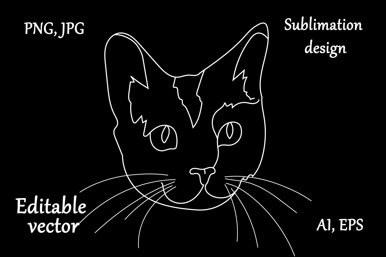 Cat Outline Sublimation Design - Modern Line Art example image 2