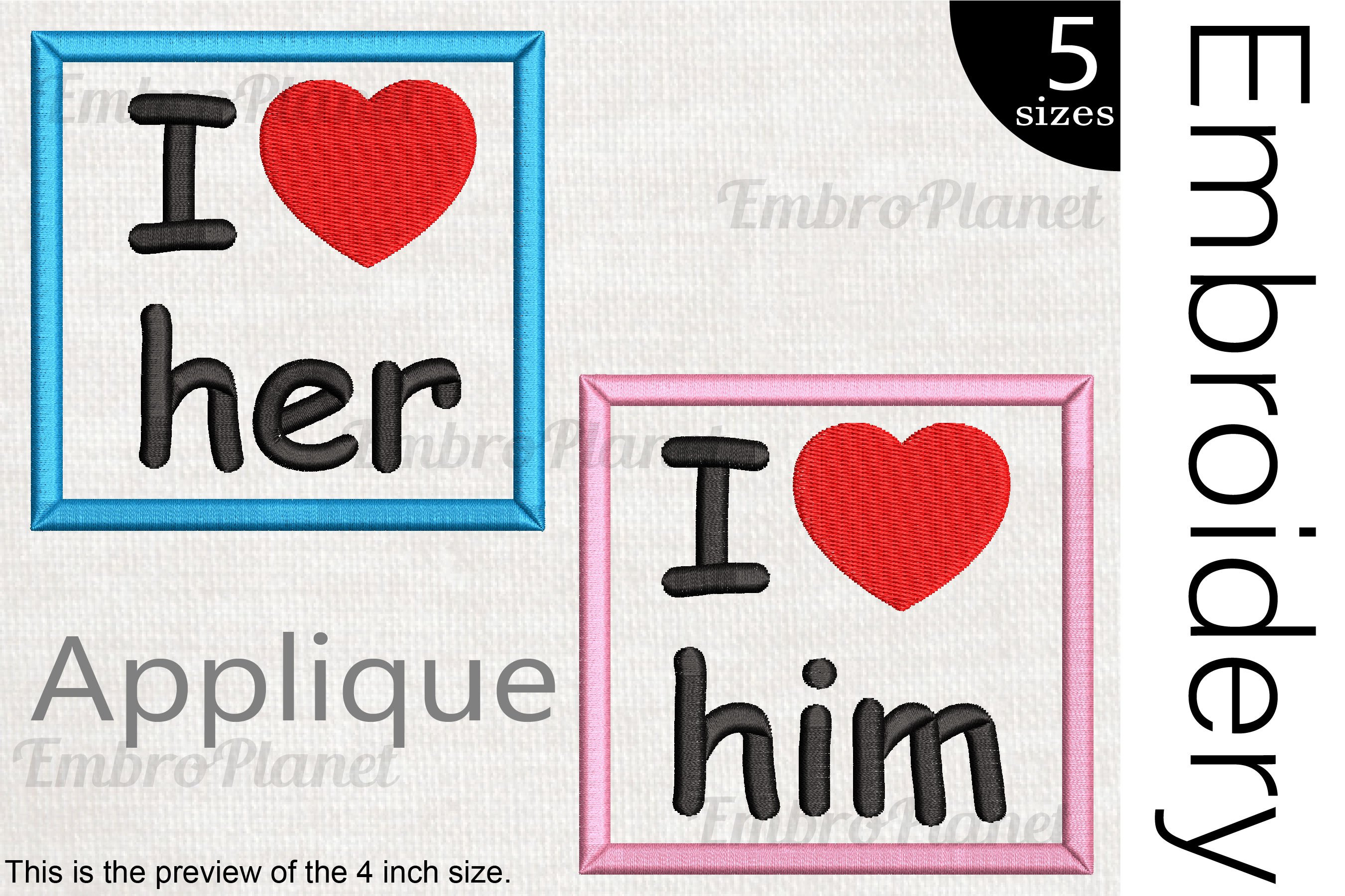 I Love Him or Her - Embroidery files - 1501e example image 1