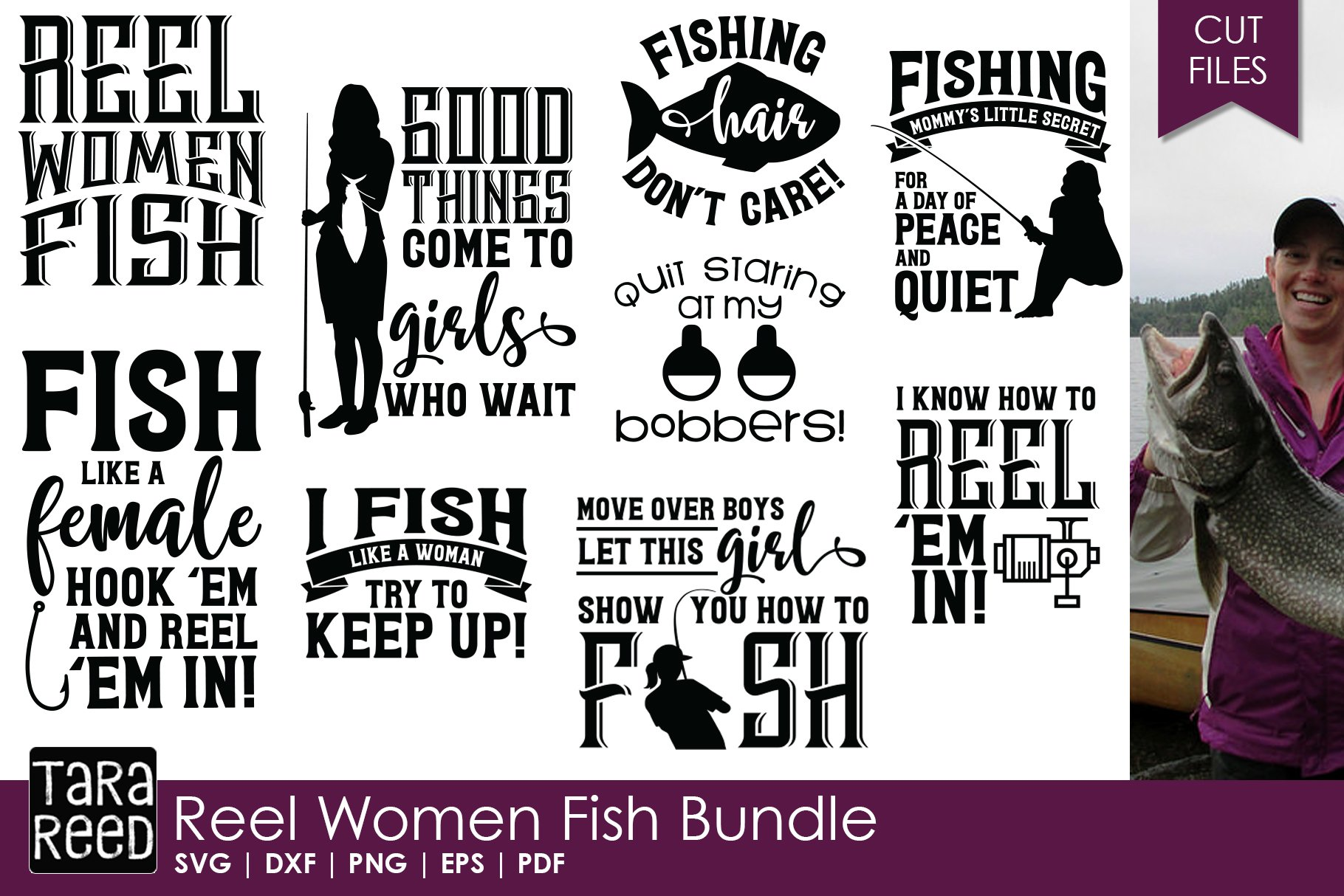 Download Reel Women Fish Fishing Svg And Cut Files For Crafters 153973 Cut Files Design Bundles