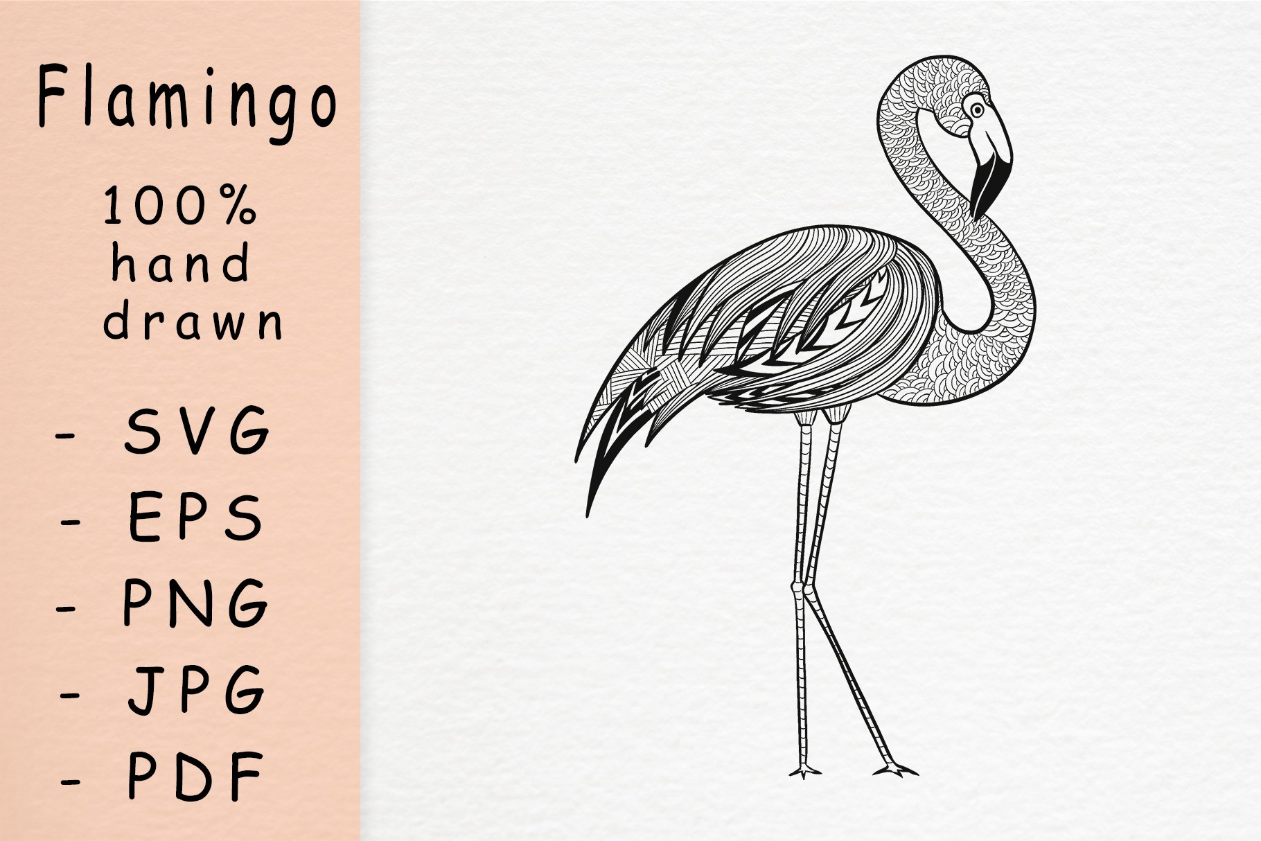 Hand drawn Flamingo with patterns example image 1