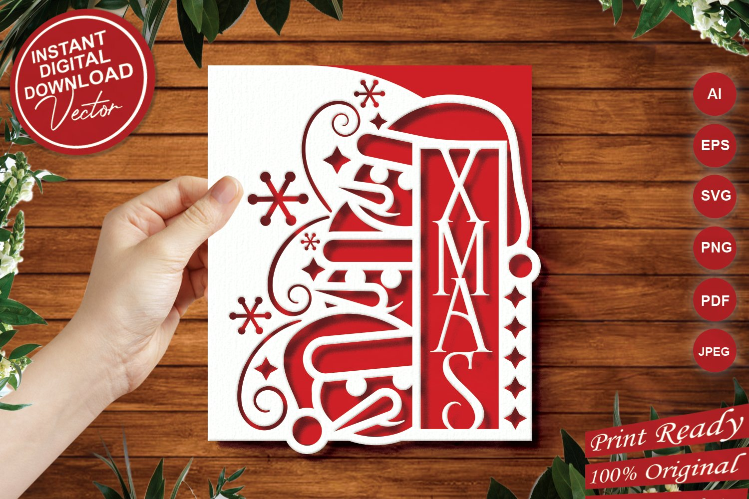 Papercut Christmas Snowman Card Cover, Snowflake, Spiral example image 1