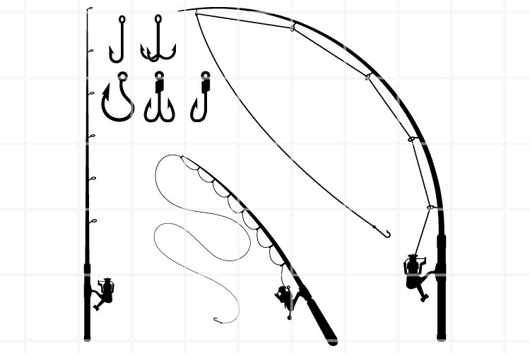 Download Fishing Rod Svg Fishing Cut File Hook Cutting Set Clipart 1106506 Cut Files Design Bundles