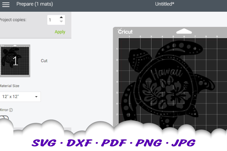 Hawaii Hibiscus Sea Turtle SVG DXF Cut Files Bundle example image 2