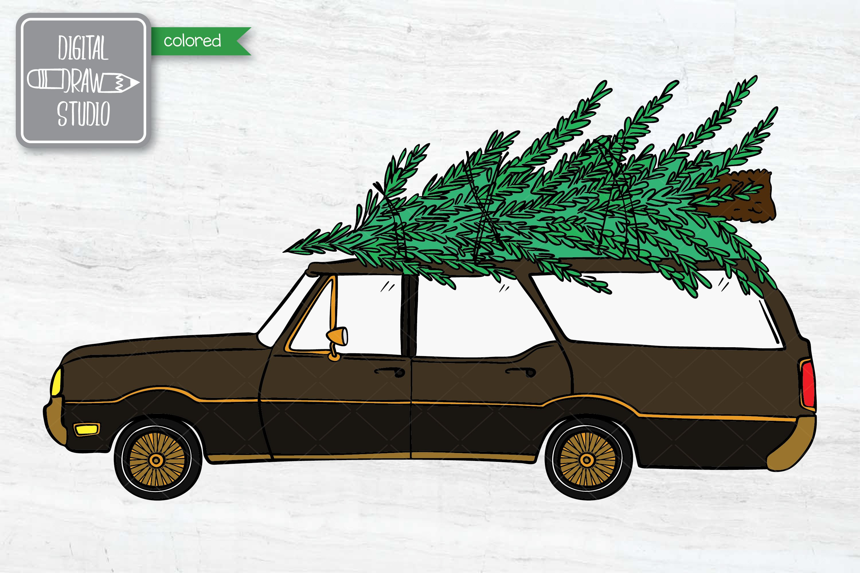 Color Station Wagon Car Christmas | Tree on Roof Top Holiday example image 5