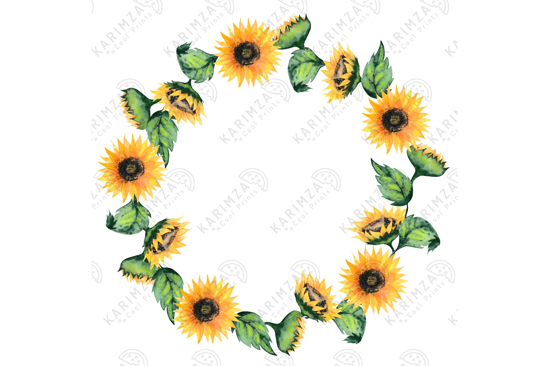 Sunflower Bee Wreath Clipart Watercolor Floral Wreaths Png 710747 Patterns Design Bundles